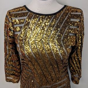 Dresses - Sheer Sequin Party Dress